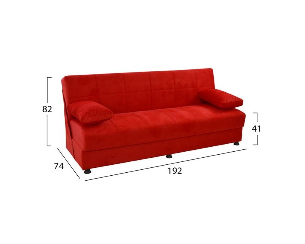 Триместен разтегателен диван EGE 6704 - червен - Дивани