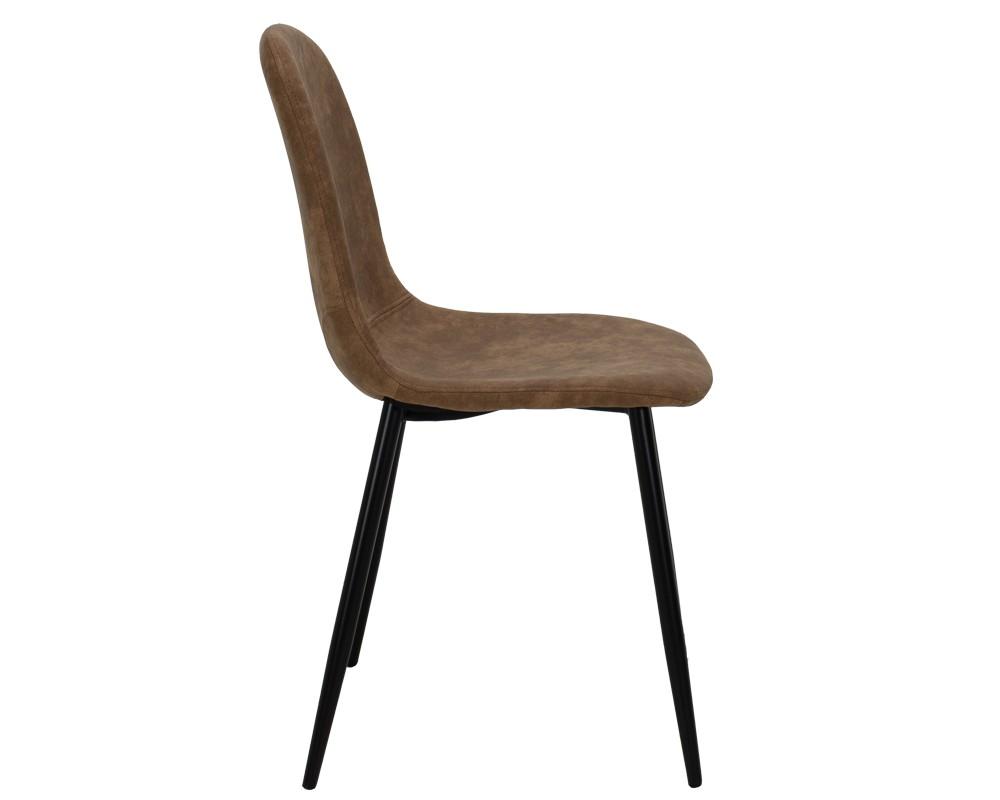 Bella метален стол черен с пу антично кафяво - Трапезни столове