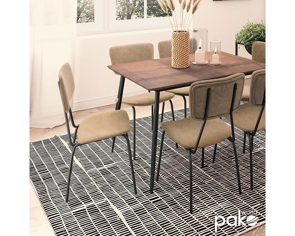 Стол Tania  черен с бежова материя - Трапезни столове